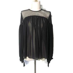 Express S black boho blouse with sheer shoulders